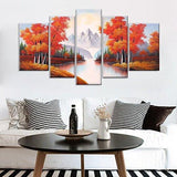 Hand Painted Modern Abtract Framed Canvas Wall Art Oil Paintings Maple Trees Forest River Mountain Ready to Hang for Living Room Wall Decor