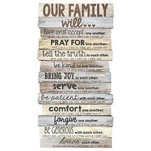 "Lighthouse Christian Products Our Family Will Medium Wall Decor, 8 1/2 x 16 1/2"" - zingydecor"