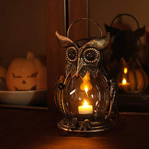 Romingo Vintage Owl Tealight Holder, Hanging Lantern for Outdoor & Indoor Party Décor, Owl Lover, Birthday Gift, Gold (Tealight Included) - zingydecor