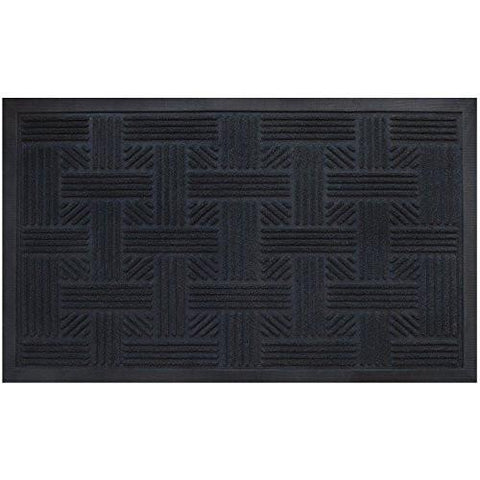 Image of Cross Hatch Doormat By Alpine Neighbor | Low Profile Outdoor Black Door Mat | Washable Cross-Hatch Outdoor Rubber Front Entrance Floor Shoes Rug | Garage Entry Carpet Decor for House Patio Grass Water