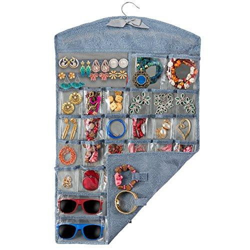 Hanging Jewelry Organizer and Jewelry Display for Classy Women, Perfect Jewelry Holder and Organizer for Chunky Necklaces, Bangle Bracelets, Watches, Sunglasses, Stud Earrings and Rings - zingydecor