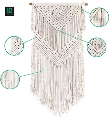 "Image of Boho Macrame Woven Wall Hanging – 16"" x 36"" Modern Bohemian Wall Art Tapestry Decor for House, Apartment, Dorm Room, Nursery, Party Decorations, Wedding Backdrop - zingydecor"
