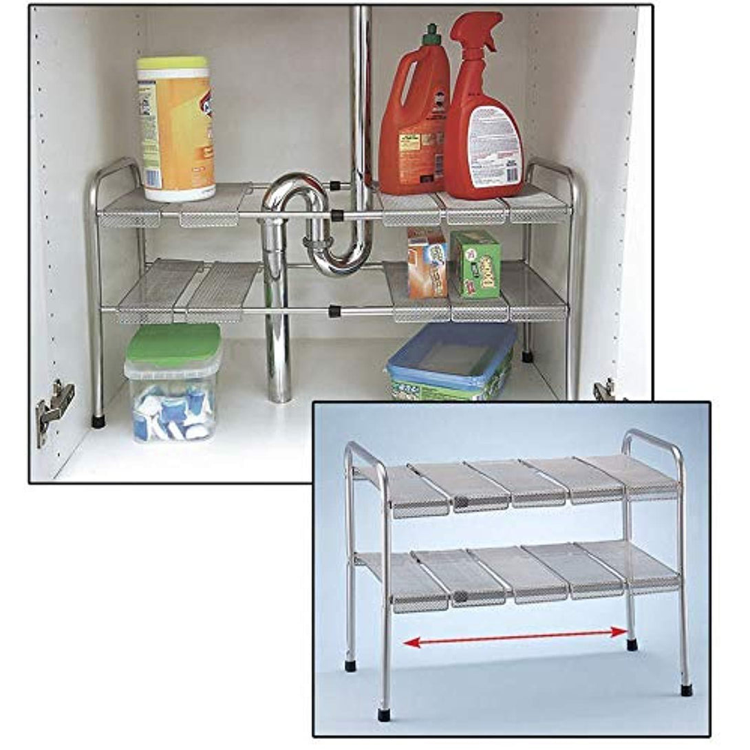 2 Tier Expandable Adjustable Under Sink Shelf Storage Shelves Kitchen Organizer - zingydecor