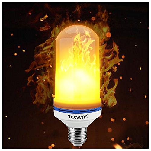 Texsens LED Flame Effect Light Bulb, E26 LED Flickering Flame Light Bulbs, 105pcs 2835 LED Beads Simulated Decorative Light Atmosphere Lighting Vintage Flaming Light Bulb for Bar/ Festival Decoration - zingydecor