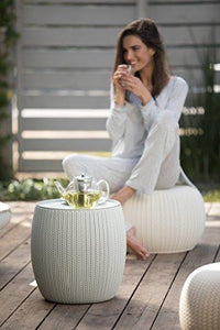 Keter Urban Knit Pouf Ottoman Set of 2 with Accent Table for Patio Decor, Cloudy Grey/Oasis White