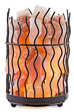Crystal Decor Natural Himalayan Salt Metal Basket Lamp with Dimmable Cord