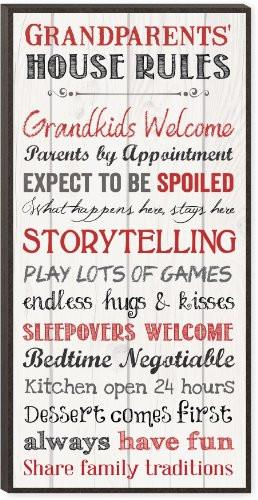 Grandparents House Rules 12 x 6 Mounted Print Decorative Wall Art Sign Plaque - zingydecor