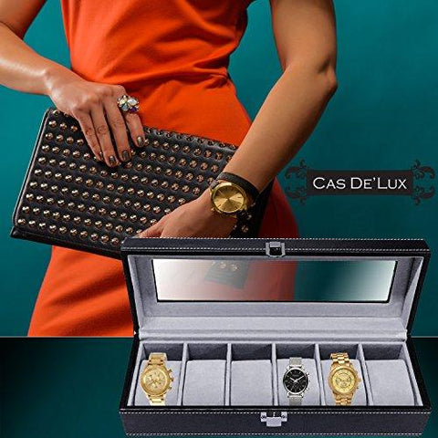Watch Box Display Case Organizer - 6 Slot Luxury Set with Glass Top Pu Leather Velvet Pillows Metal Lock - Cas De` Lux