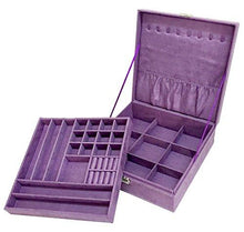 Load image into Gallery viewer, Sodynee Two-Layer Lint Jewelry Box with Lock, Purple - zingydecor