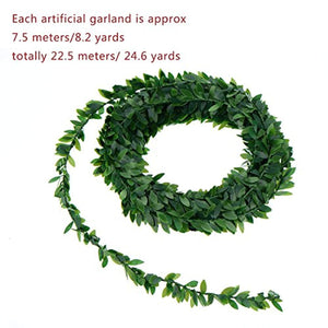 24.6 Yards Artificial Ivy Garland Foliage Green Leaves Fake Vine for Wedding Party Ceremony DIY Headbands