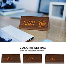 Load image into Gallery viewer, Digital Alarm Clock, with Wooden Electronic LED Time Display, 3 Alarm Settings, Humidity & Temperature Detect, Wood Made Electric Clocks for Bedroom, Bedside, Black