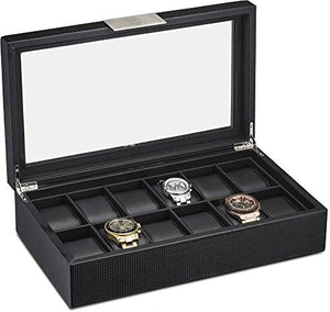 Watch Box for Men - 12 Slot Luxury Carbon Fiber Design Display Case, Large Holder, Metal Buckle -Black - zingydecor
