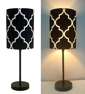 "16"" H Mini Living Room Indoor Table Lamp Metal Base (Black) - zingydecor"
