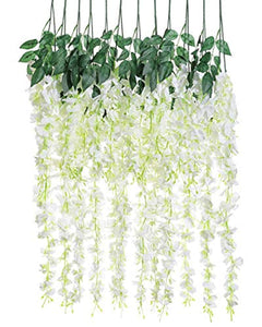 Luyue 3.18 Feet Artificial Silk Wisteria Vine Ratta Silk Hanging Flower Wedding Decor, 6 Pieces,White (White) - zingydecor