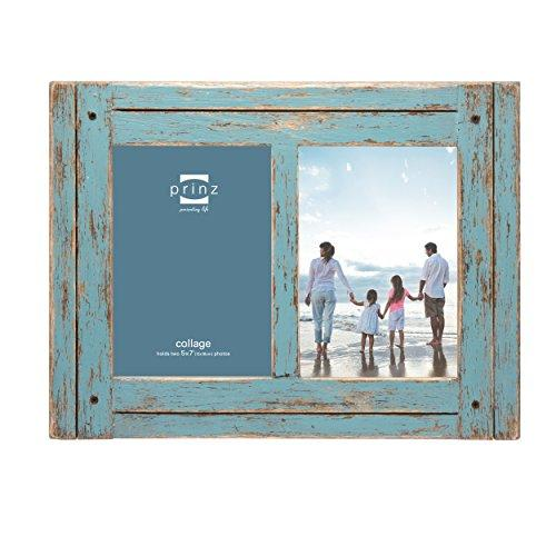 "Prinz 2 Opening Homestead Antique Wood Collage Frame, 5 x 7"", Blue - zingydecor"