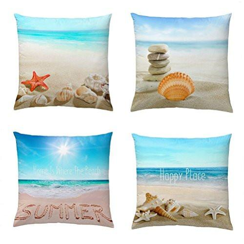 Wonder4 4Pack Standard Couch Pillow Case 18x18 inches Cushion Cover Cotton Linene Couch Throw Pillow Case Home Decor Patio Pillow Cover with Conches, Starfishes, Stones, Sunshine, Sea, Beach Pattern - zingydecor