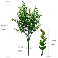 Load image into Gallery viewer, Artificial Shrubs, Hogado 4pcs Faux Plastic Eucalyptus Leaves Bushes Fake Simulation Greenery Plants Indoor Outside Home Garden Office Verandah Wedding Decor - zingydecor