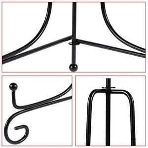 "Lictin Pack of 2 Black Iron Display Stand, Black Iron Easel Plate Display, Display Stand Curve Design for Home Decoration, 8.5"" Tall Holds Cook Books, Plates, Pictures & More (Black) - zingydecor"