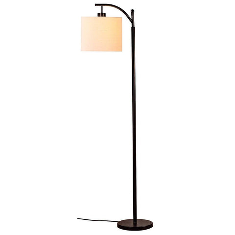 Image of Brightech Montage LED Floor Lamp- Classic Arc Floor Lamp with Hanging Lamp Shade - Tall Industrial Uplight Lamp for Living Room, Family Room, Office or Bedroom, Energy Saving and Long Lasting- Black - zingydecor
