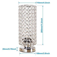 Load image into Gallery viewer, ZEEFO Crystal Table Lamp, Nightstand Decorative Room Desk Lamp, Night Light Lamp, Table Lamps for Bedroom, Living Room, Kitchen, Dining Room (Silver) - zingydecor