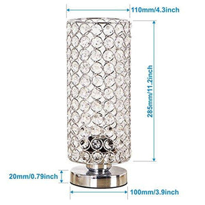 ZEEFO Crystal Table Lamp, Nightstand Decorative Room Desk Lamp, Night Light Lamp, Table Lamps for Bedroom, Living Room, Kitchen, Dining Room (Silver) - zingydecor