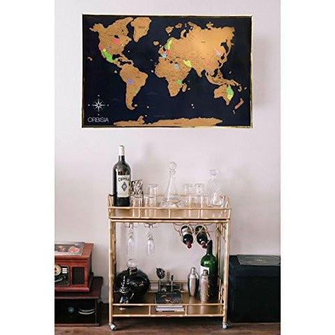 Deluxe Scratch Off World Map Includes Precision Scratch Off Tool - Framed scratch world map