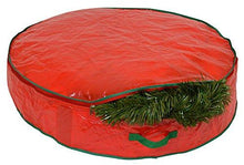 "Load image into Gallery viewer, Christmas Wreath Storage Bag - 30"" X 7"" - Durable Tarp Material, Zippered, Reinforced Handle and Easy to Slip the wreath In and Out. Protect Your Holiday Wreath from Dust, Insects, and Moisture - zingydecor"