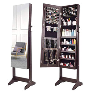 Jewelry Organizer Jewelry Armoire,Full Length Mirror Lockable Jewelry Cabinet, with Large Storage Capacity, 3 Angles Adjustable, Brown