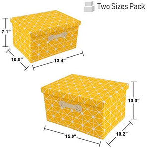 Foldable Lidded Storage Bins Cube Fabric Storage Basket with Handle Organizer Box Containers for Shelf Home Office Closet Nursery, 2 Pack