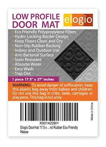 Image of Elogio Door Mat Indoor Outdoor Doormats Outside Effective Scraping of Dirt Patio Grass Moisture Snow Dust and Grit Removal Ideal Low Profile Doormat Front Door Entrance Mat Grey Rug Non Slip Rubber