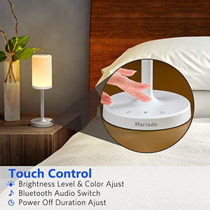 Marrado Bluetooth Speakers + Bedside Lamp, Night Light, Smart Touch Control Table Lamp for Bedroom Living Room, Portable Rechargeable LED Desk Lamp, Dimmable Warm White & Color Changing - zingydecor