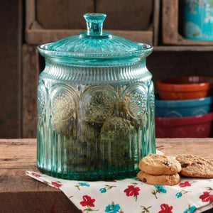 The Pioneer Woman Adeline Glass Cookie Jar - Turquoise - zingydecor