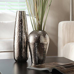 Elegant Expressions by Hosley Teardrop Hammered Metal Vase, Silver - zingydecor