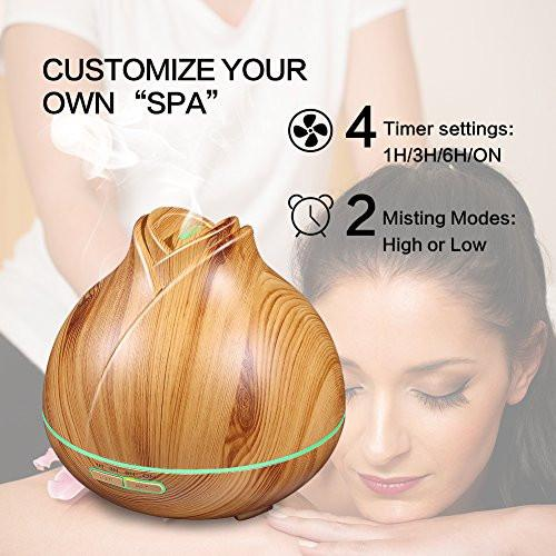 Aroma Essential Oil Diffuser, MZvul 400ml Ultrasonic Cool Mist Humidifier Aromatherapy Diffuser with 7 Color LED Lamps, Adjustable Mist Mode, Waterless Auto Shut-Off for Home Yoga Office Spa Baby Room