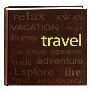 "Pioneer ""Travel"" Text Design Sewn Faux Suede Cover Photo Album, Brown - zingydecor"
