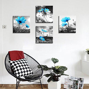 HLJ Arts Modern Salon Theme Black and White Peacock Blue Vase Flower Abstract Painting Still Life Canvas Wall Art for Home Decor 12x12inches 4pcs/set - zingydecor