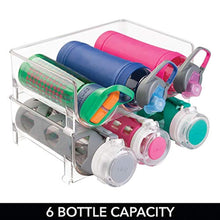 Load image into Gallery viewer, mDesign Stackable Water Bottle Storage Rack for Kitchen Countertops, Cabinet - Holds 6 Bottles, Clear - zingydecor