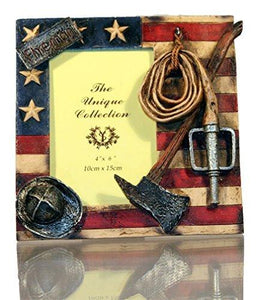 Fireman Frame with Flag, Hose, Ax, and Firefighter Hat - zingydecor