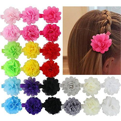 Image of Chiffon 2in Multilayer Silk Artificial Chiffon Flowers Clips Boutique Hair Bows For Girls Headbands Brooch Accessories Set Of 24 - zingydecor