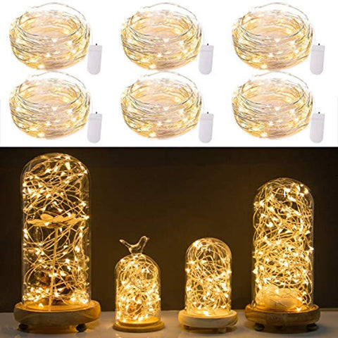 Image of Pack of 6 LED Moon Starry String Lights with 20 Micro LEDs on 5feet/1.5m Silver Coated Copper Wire, 2 x CR2032 Battery Power(Included), for DIY Wedding Centerpiece or Table Decorations (Warm White)