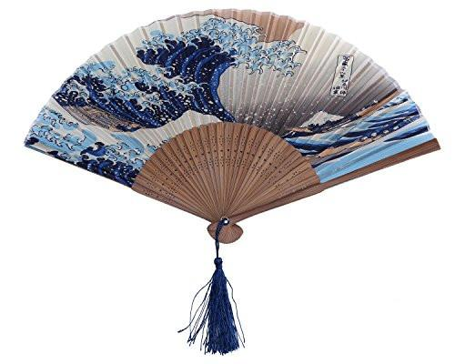 DawningView Japanese Handheld Folding Fan, with Traditional Japanese Ukiyo-e Art Prints (Great Wave Off Kanagawa) - zingydecor