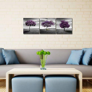 Pyradecor 3 Piece Purple Trees Modern Stretched and Framed Landscape Artwork Giclee Canvas Prints Fall Forest Pictures Paintings on Canvas Wall art for Living Room Bedroom Home Office Decorations - zingydecor