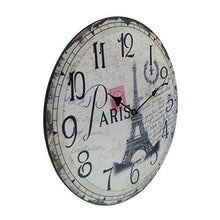 Load image into Gallery viewer, Hippih Silent Round Wall Clocks (12 Inches) Living Room Decorative Vintage / Country / French Style Wooden Clock(Round Eiffel) - zingydecor
