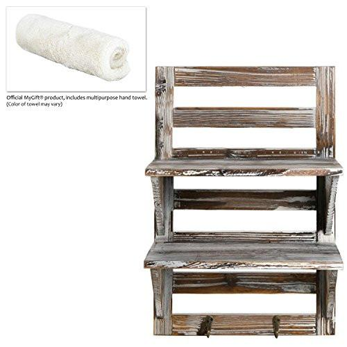 MyGift Rustic Wood Wall Mounted Organizer Shelves w/ 2 Hooks, 2-Tier Storage Rack