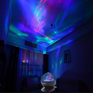 SOAIY Sleep Soother Aurora Projection LED Night Light Lamp with 8 Lighting Mode & Speaker, Relaxing Light Show for Baby Kids and Adults, Mood Light for Baby Nursery Bedroom Living Room