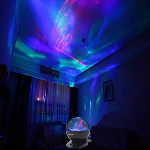 Image of SOAIY Sleep Soother Aurora Projection LED Night Light Lamp with 8 Lighting Mode & Speaker, Relaxing Light Show for Baby Kids and Adults, Mood Light for Baby Nursery Bedroom Living Room