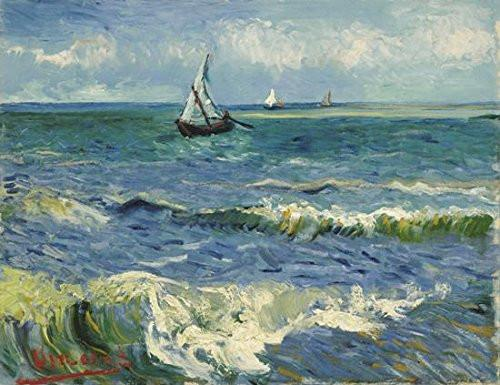 Seascape at Saintes Maries by Vincent Van Gogh Oil Paintings Reproduction Modern Wrapped Giclee Canvas Prints Sea Pictures on Canvas Wall Art for Living Room Home Office Decorations - zingydecor