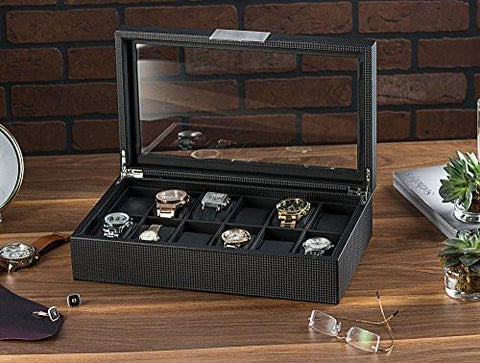 Image of Watch Box for Men - 12 Slot Luxury Carbon Fiber Design Display Case, Large Holder, Metal Buckle -Black