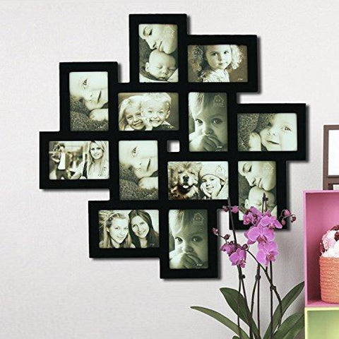 "Image of Adeco [PF0206] Decorative Black Wood Wall Hanging Collage Picture Photo Frame, 12 Openings, 4x6"" - zingydecor"
