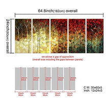 Load image into Gallery viewer, 5-Panel 100% Hand-Painted Oil Paintings Landscape Trees Forest Modern Abstract Contemporary Artwork Stretched Wood Framed Ready Hang Home Decoration Wall Decor Living Room Bedroom Kitchen - zingydecor
